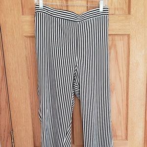 Black & White Striped Silky Pants